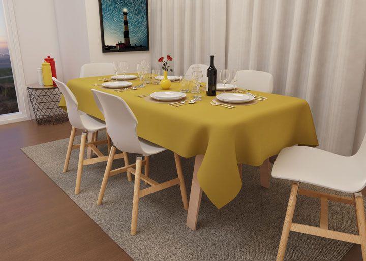 Toalha de Mesa Quadrada 6 Lugares Amarela Oxford