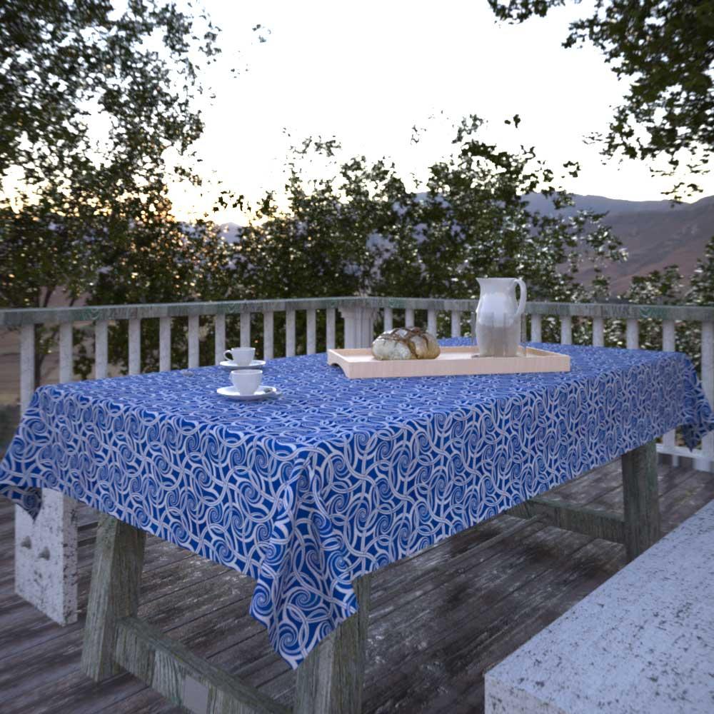 Toalha de Mesa Quadrada 8 Lugares Azul Estampada com Aspirais