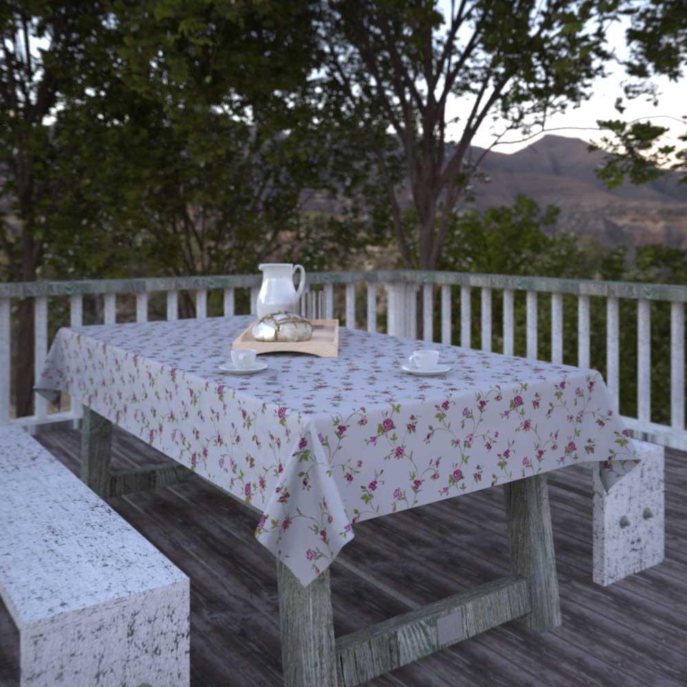 Toalha de Mesa Quadrada 8 Lugares Bege Floral