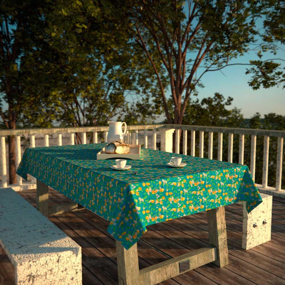 Toalha de Mesa Quadrada Azul4 Lugares Limões