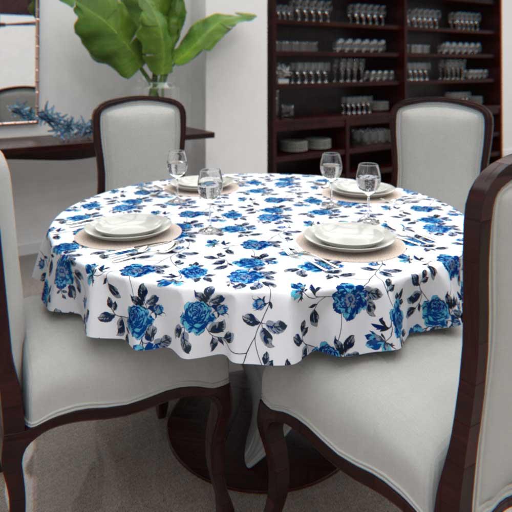 Toalha de Mesa Redonda6 LugaresBranca Floral Estampada