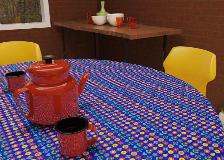 Toalha de Mesa Redonda 4 Lugares Azul Escuro Mimos de Flores