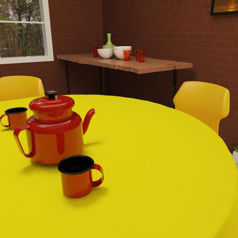 Toalha de Mesa Redonda 4 Lugares Lisa Amarela Clara Oxford