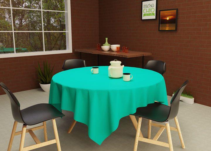 Toalha de Mesa Redonda 4 Lugares Verde Água Oxford