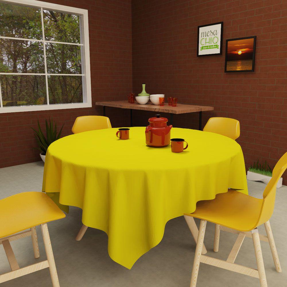 Toalha de Mesa Redonda 6 Lugares Lisa Amarela Clara Oxford