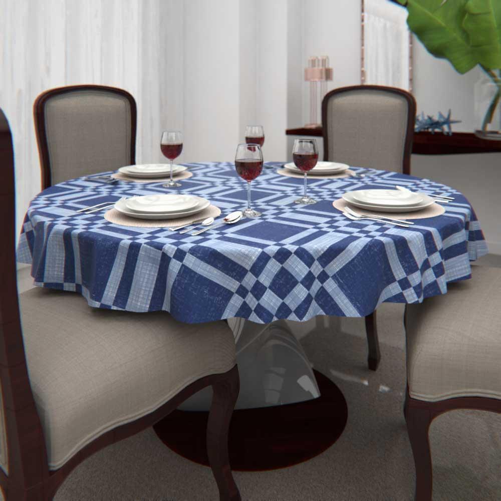 Toalha de Mesa Redonda 8 Lugares Azul Estampada