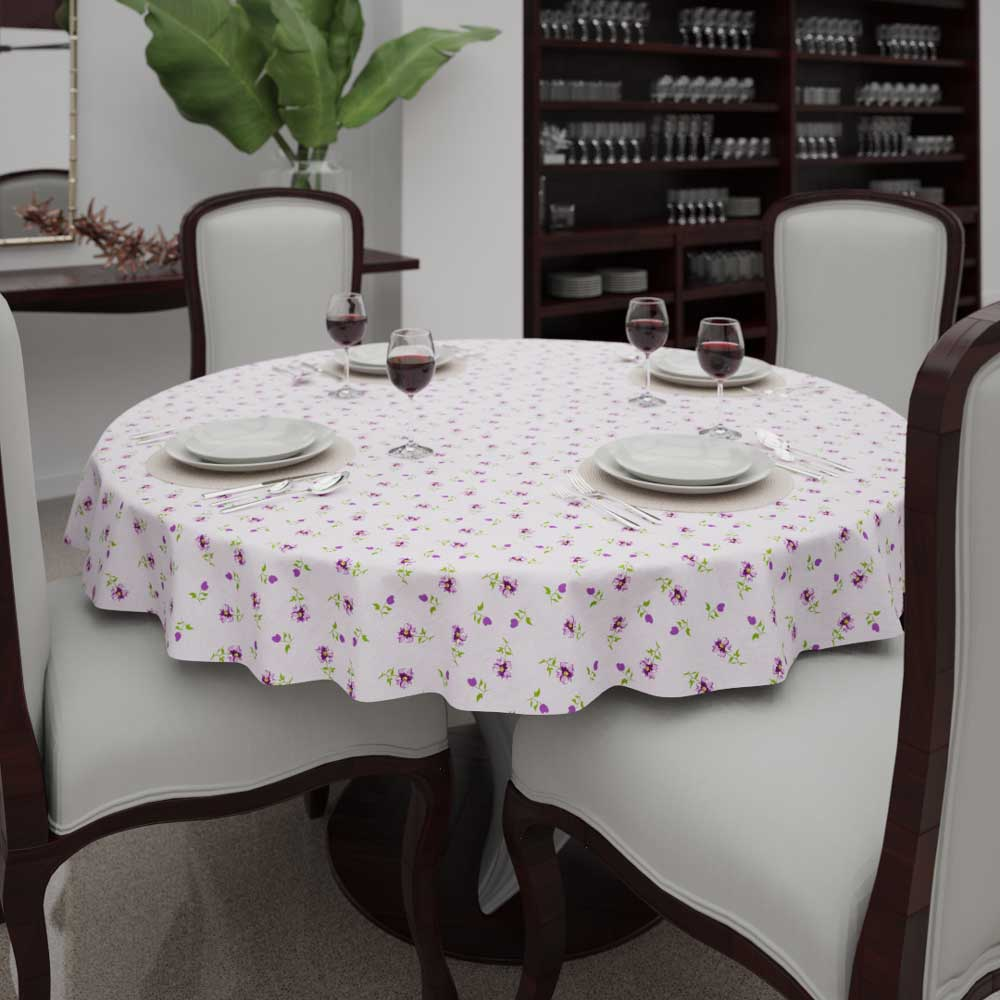 Toalha de Mesa Redonda 8 Lugares Lilás Floral