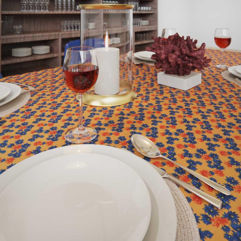 Toalha de Mesa Retangular 10 Lugares Amarela Floral Divina