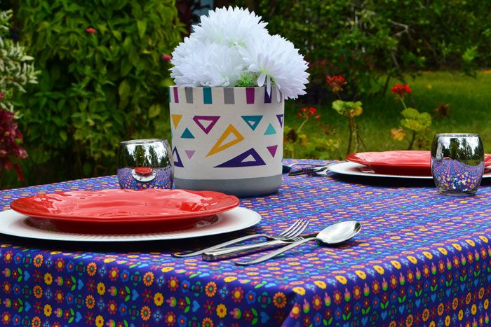 Toalha de Mesa Retangular 10 Lugares Azul Mimos de Flores