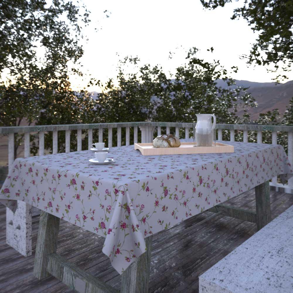 Toalha de Mesa Retangular 10 Lugares Bege Sob Medida Florais
