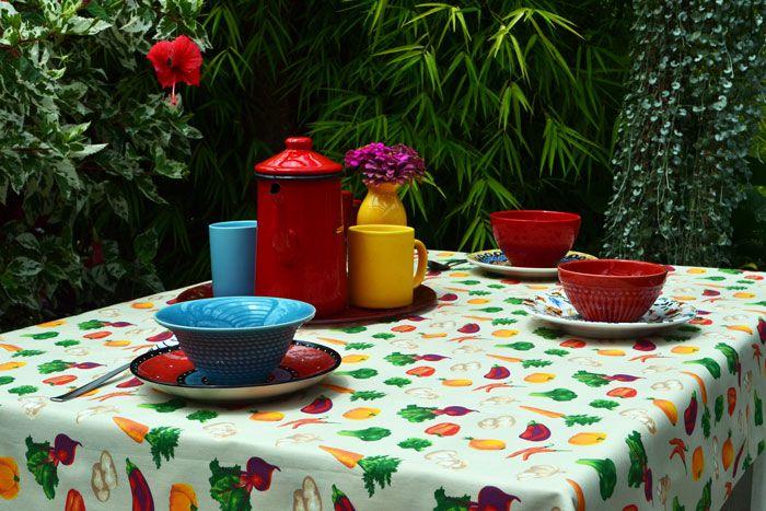 Toalha de Mesa Retangular 10 Lugares Bege Vegetais