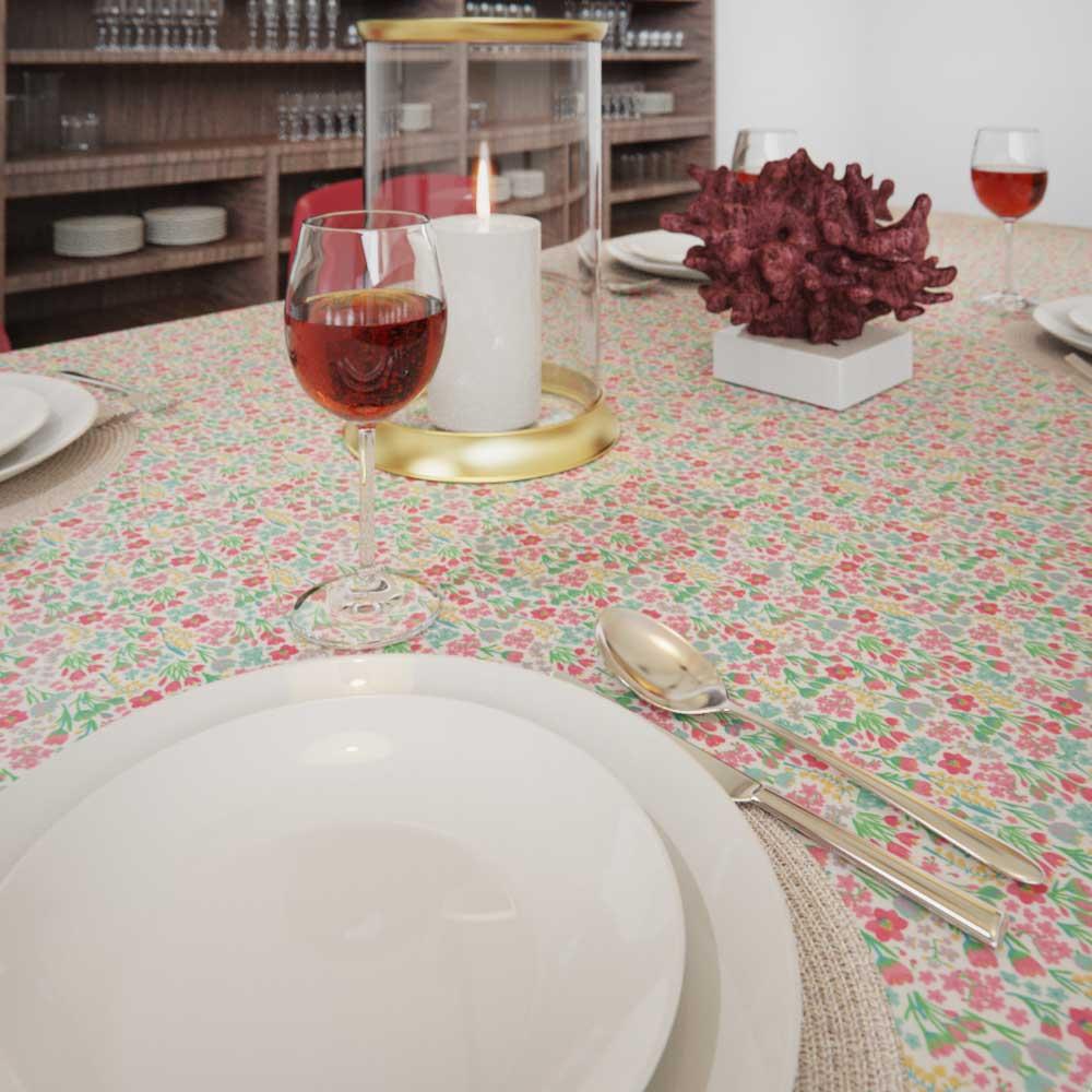 Toalha de Mesa Retangular 10 Lugares Branca Mil Flores