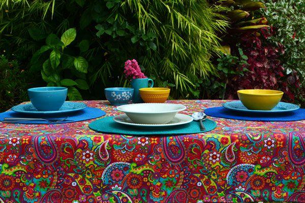 Toalha de Mesa Retangular 10 Lugares Índia Colors