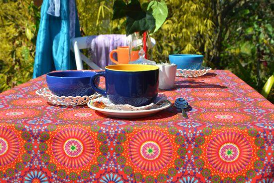 Toalha de Mesa Retangular 10 Lugares Indiana Mandalas Vermelhas