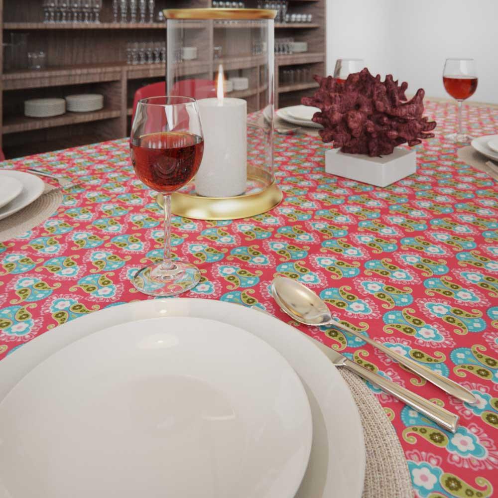 Toalha de Mesa Retangular 10 Lugares Rosa Chique