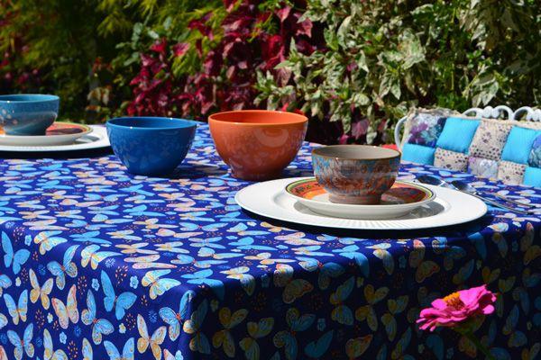 Toalha de Mesa Retangular 4 Lugares Azul Belas Borboletas
