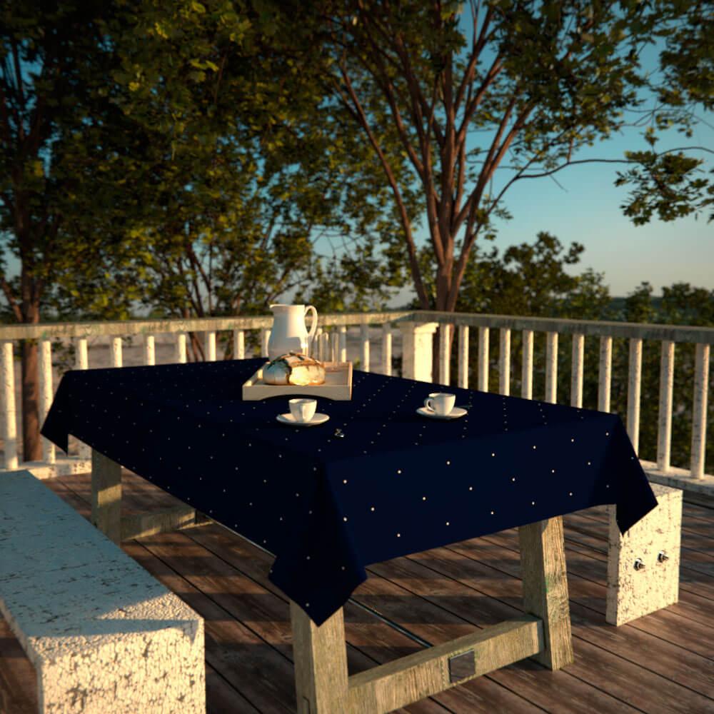 Toalha de Mesa Retangular 4 Lugares Azul Escuro Poá