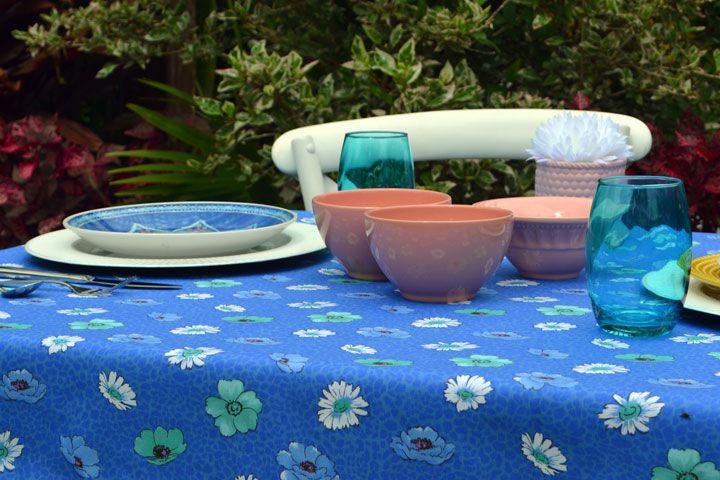 Toalha de Mesa Retangular 4 Lugares Azul Flor do Céu