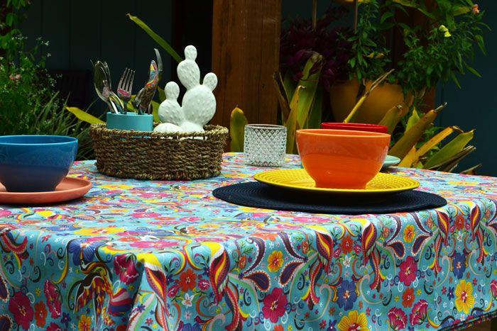 Toalha de Mesa Retangular 4 Lugares Azul Flores e Festa