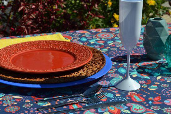 Toalha de Mesa Retangular 4 Lugares Azul Indian