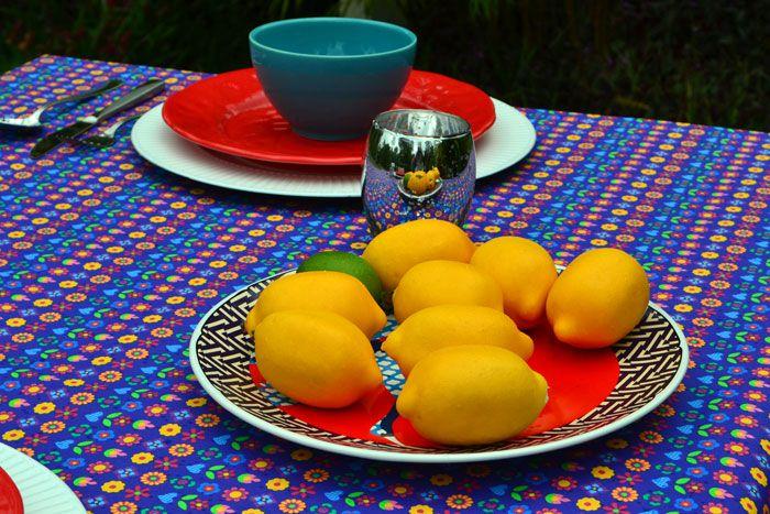 Toalha de Mesa Retangular 4 Lugares Azul Mimos de Flores