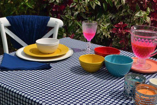 Toalha de Mesa Retangular 4 Lugares Azul Poá Decore