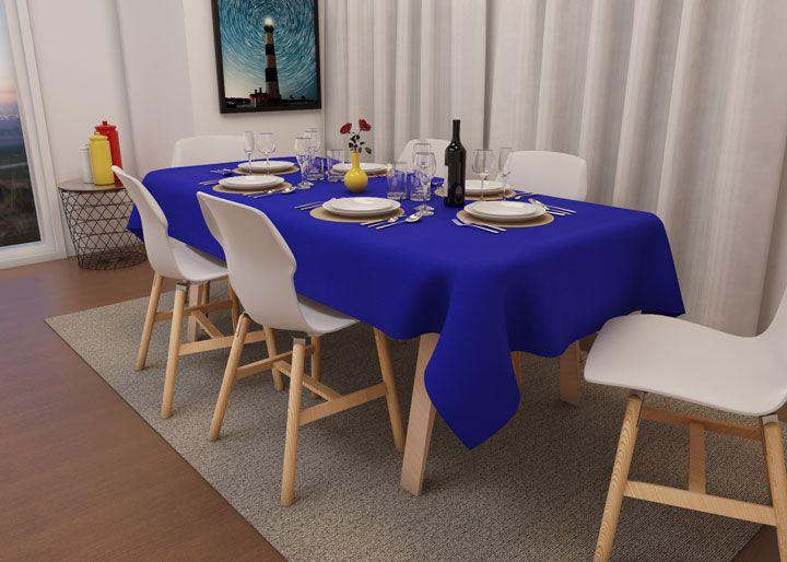 Toalha de Mesa Retangular 4 Lugares Azul Royal Oxford