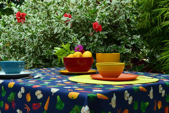 Toalha de Mesa Retangular 4 Lugares Azul Vegetais