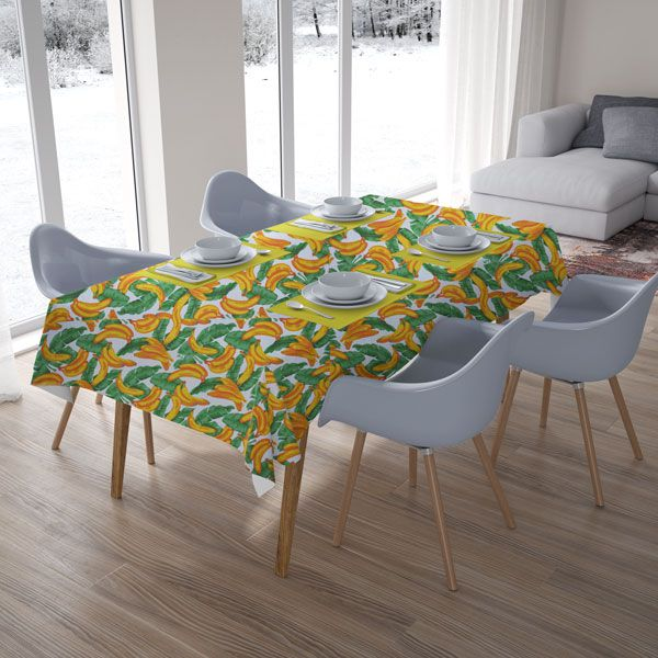 Toalha de Mesa Retangular 4 Lugares Bananas Tropicais