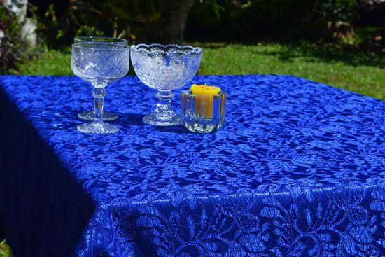 Toalha de Mesa Retangular 4 Lugares de Renda Azul