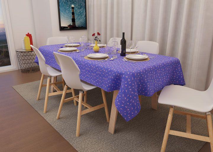 Toalha de Mesa Retangular 4 Lugares Lilás Rosas