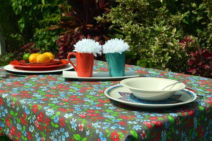 Toalha de Mesa Retangular 4 Lugares Marrom Floral House