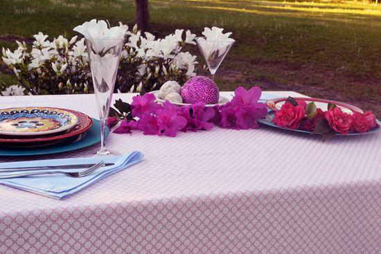 Toalha de Mesa Retangular 4 Lugares Rosa Diamante