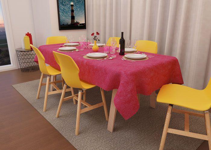 Toalha de Mesa Retangular 4 Lugares Rosa Textura