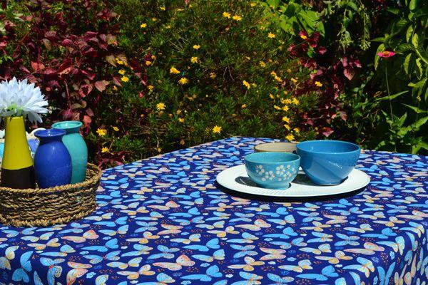 Toalha de Mesa Retangular 6 Lugares Azul Belas Borboletas