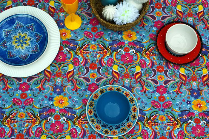 Toalha de Mesa para Festa Retangular 6 Lugares Azul