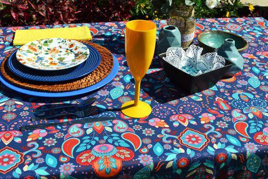 Toalha de Mesa Retangular 6 Lugares Azul Indian