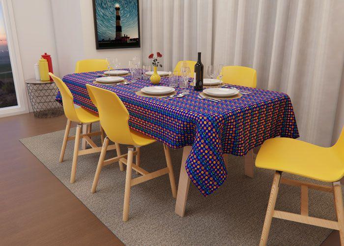 Toalha de Mesa Retangular 6 Lugares Azul Mimos de Flores