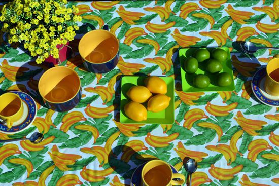 Toalha de Mesa Retangular 6 Lugares Bananas Tropicais