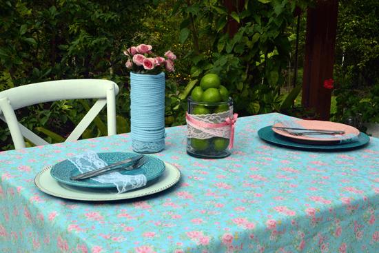 Toalha de Mesa Retangular 6 Lugares Floral Celeste