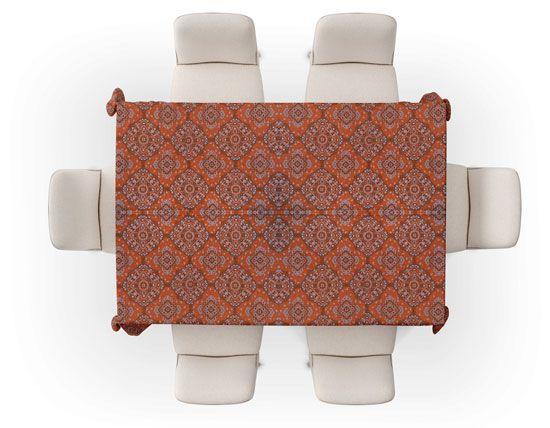 Toalha de Mesa Retangular 6 Lugares Indiana Laranja Maya