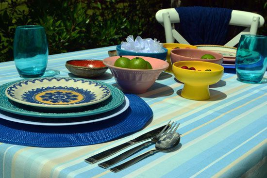 Toalha de Mesa Retangular 6 Lugares Listras Sweet Colors