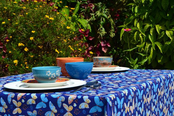 Toalha de Mesa Retangular 8 Lugares Azul Belas Borboletas