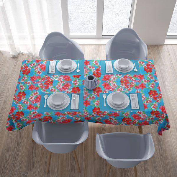 Toalha de Mesa Retangular 8 Lugares Azul com Flores Coloridas