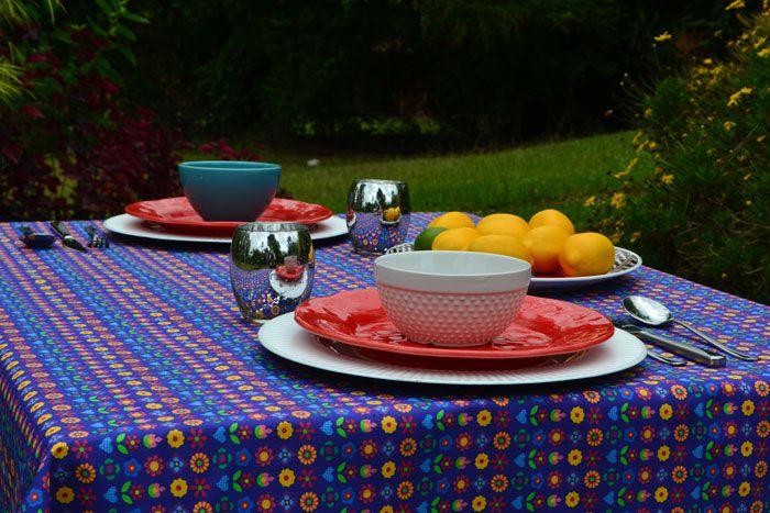Toalha de Mesa Retangular 8 Lugares Azul Mimos de Flores
