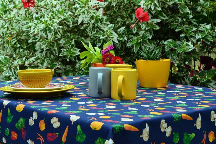 Toalha de Mesa Retangular 8 Lugares Azul Vegetais