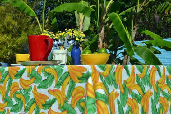 Toalha de Mesa Retangular 8 Lugares Bananas Tropicais