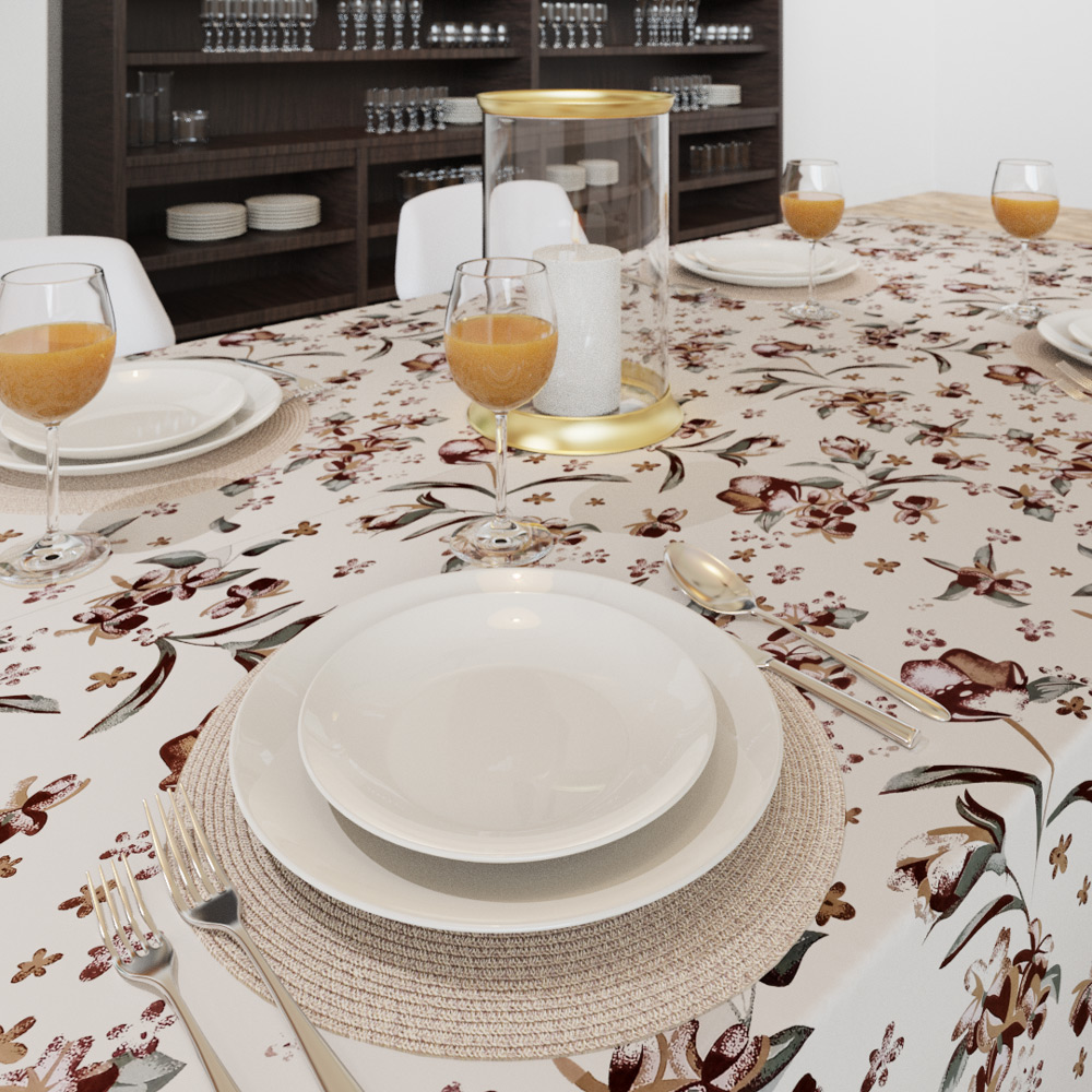 Toalha de Mesa Retangular 8 Lugares Bege com Flores Marrons