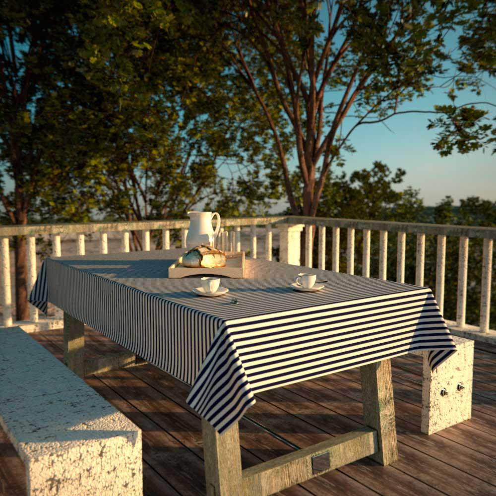 Toalha de Mesa Retangular 8 Lugares Impermeável Listrada Azul com Branco