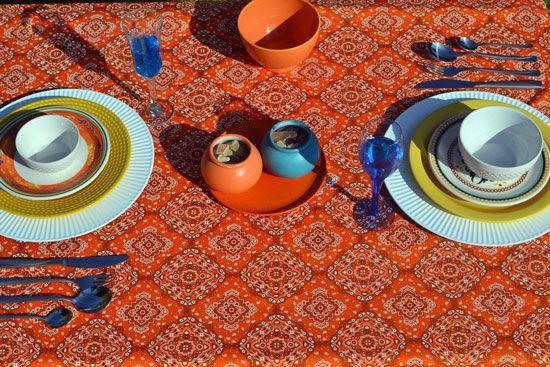 Toalha de Mesa Retangular 8 Lugares Indiana Laranja Maya